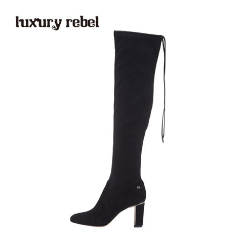 luxury rebel 2016冬季寒冬战士黑色羊绒膝上靴L71381360