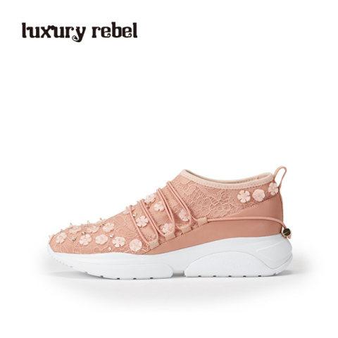 LR女鞋Luxury Rebel 夏新休闲系带女鞋尖头中跟休闲鞋板鞋