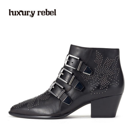 Luxury Rebel 2016冬新品骑士精神牛皮排扣黑色短靴女靴L74351167