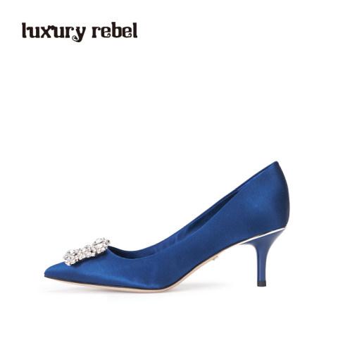 luxury rebel公主蓝色高贵方钻细跟女单鞋L71150120
