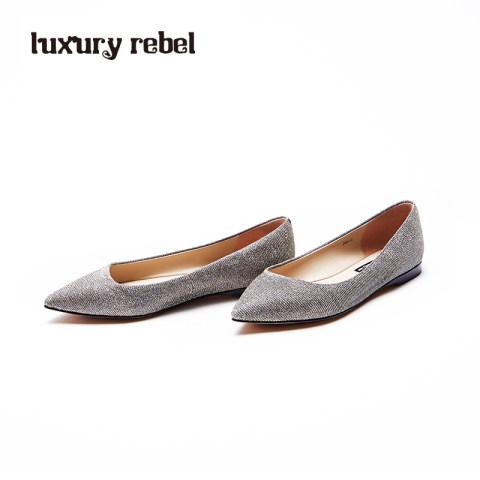 LR女鞋Luxury Rebel 新款 Beauty5 平底银色浅口单鞋