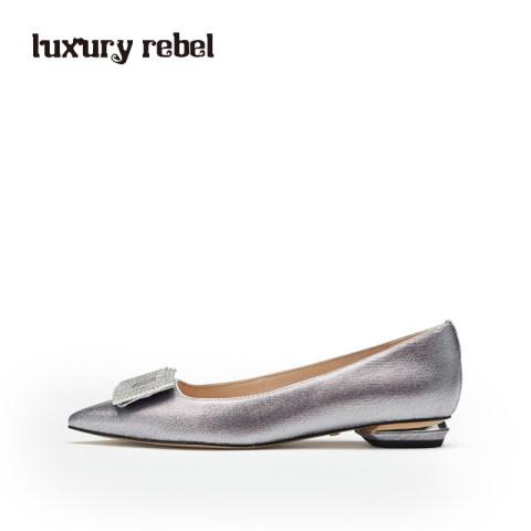 LR女鞋Luxury  Rebe2019春季新款方扣女平底单鞋尖头浅口女鞋