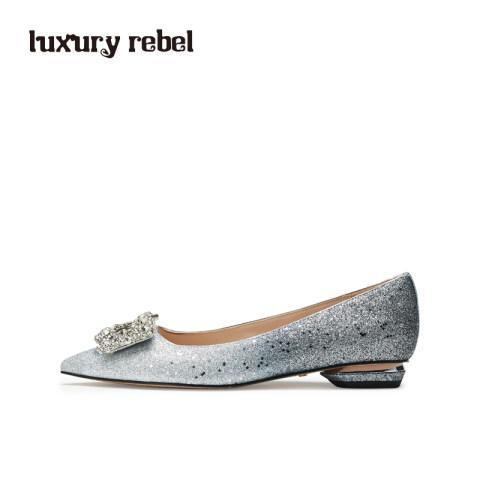 LR女鞋Luxury  Rebel2019春季新款方钻尖头浅口单鞋平底女鞋
