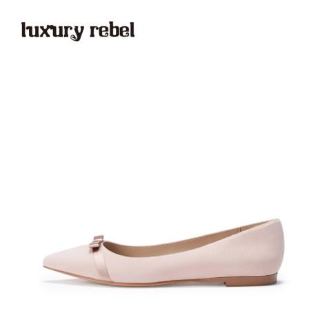 LR女鞋Luxury Rebel新款尖头平底单鞋蝴蝶结单鞋