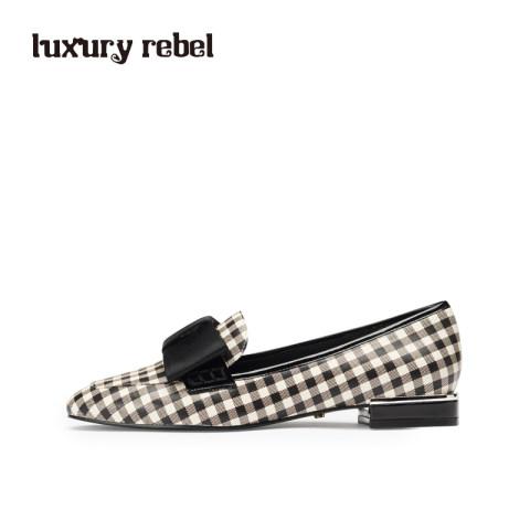 LR女鞋Luxury Rebel2019春季新款格子单鞋低跟乐福鞋蝴蝶结休闲鞋