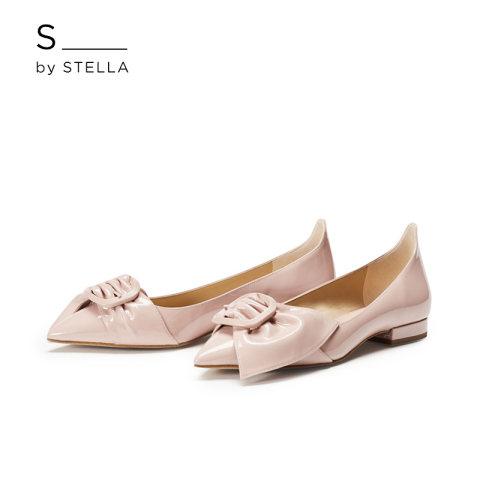 小S女鞋S By STELLA2019春季新品烟粉色单侧蝴蝶结尖头平底鞋单鞋