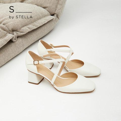 小S女鞋S By STELLA2019春季新品白色交叉带粗跟方跟半凉高跟凉鞋