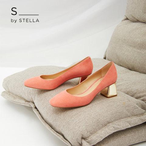小S女鞋S By STELLA2019春季新品红色简约优雅通勤方跟高跟单鞋