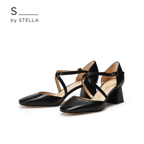 小S女鞋S By STELLA2019春季新品黑色交叉带粗跟方跟半凉高跟凉鞋